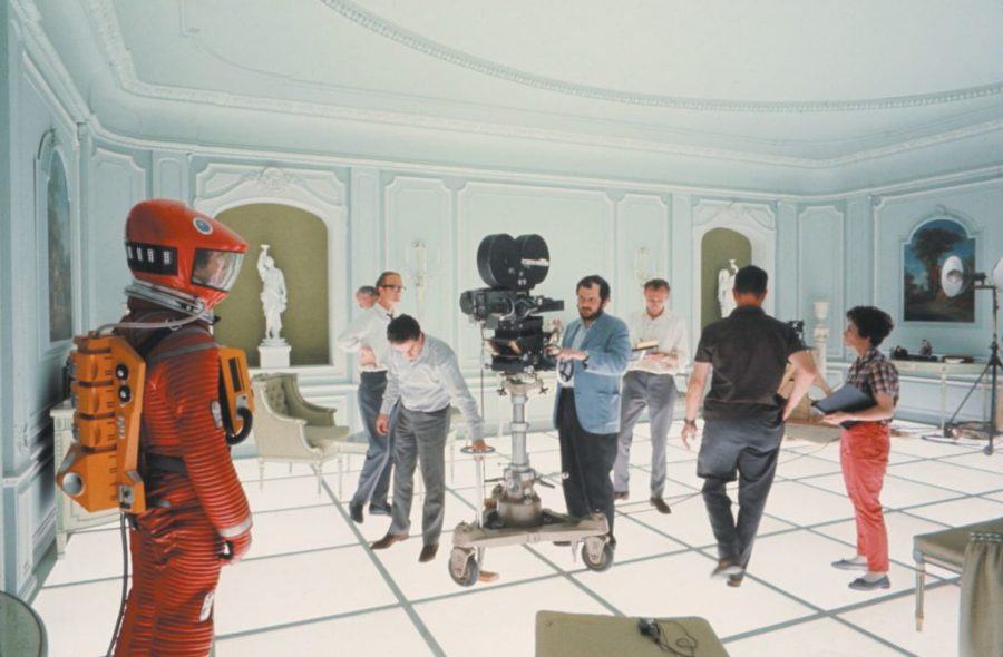 On the 2001: A Space Odyssey (1968, Dir. Stanley Kubrick). Kubrick is shown at center behind the camera.