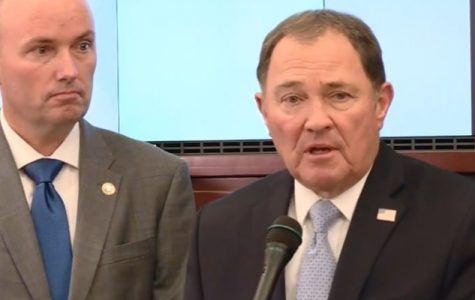 Picture of Governor Gary Herbert speaking about COVID-19 and the actions that are going to be taken to prevent further spread.