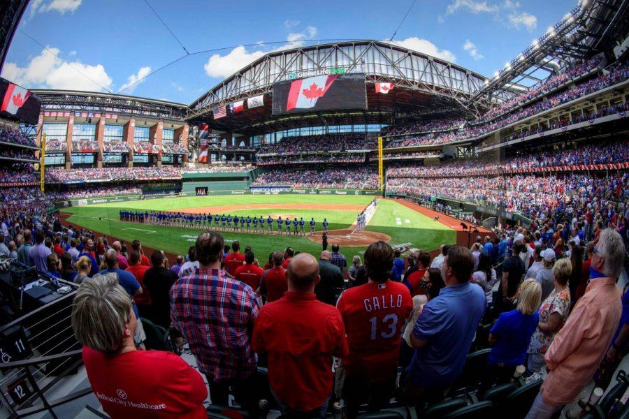 Texas+Rangers+Host+MLB+Game+at+100%25+Fan+Capacity